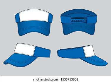 Sun Visor Cap Design Vector (White / Blue Color)