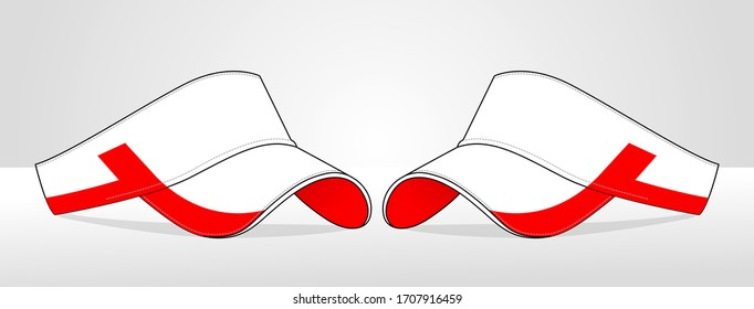 Sun Visor Cap Design Vector With White/Red Colors.