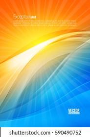 Sonne und Wellen. Abstrakter digitaler, heller, heller Hintergrund. Vorlage für Firmenflyer. Design-Template-Layout für Firmenbuch, Broschüre, Broschüre, Poster, Banner, Vektorgrafik