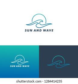 Sun And Wave Logo Template, Icon Vector