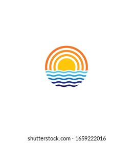 Sun wave logo template vector icon illustration