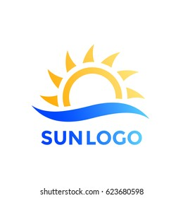 sun and wave vector logo element