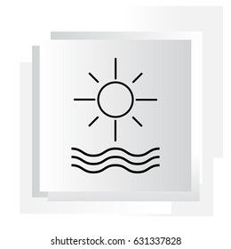sun and waves line icon. vector illustration