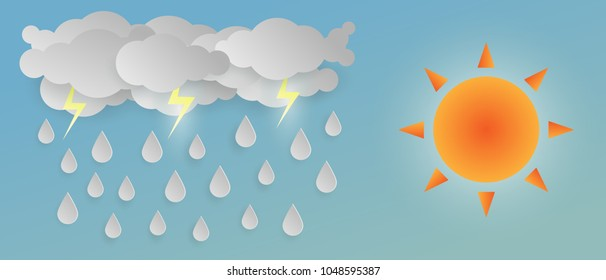 Sun and White Cloud with white rain Drop on Blue Background,Vector illustration. paper art and digital craft style.