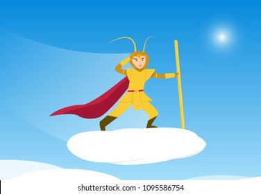 Sun Wukong, Monkey King on Cloud traveling to sky, vector art