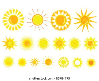 sun yellow set vector illustration on white background