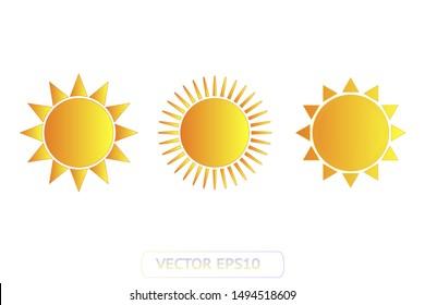 Sun yellow vector icon set. Sun logo on blue background. Sunburst isolated flat illustration. Sun silhouette for weather, summer, spring, autumn. Burst flat solar sunlight element object vector symbol