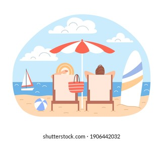 Sunbathing couple man, woman with beach umbrella, deck chairs relax at blue ocean seaside landscape. Summer family holidays. Cartoon vacation season sea leisure concept Flat travel vector illustration