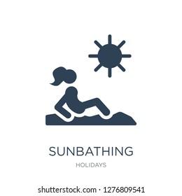 sunbathing icon vector on white background, sunbathing trendy filled icons from Holidays collection, sunbathing vector illustration