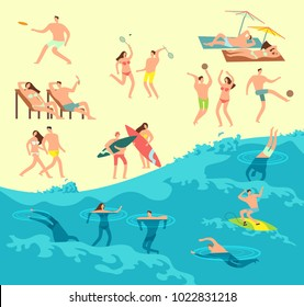 Sunbathing, playing and swimming people in summer beach vector illustration. People man and woman on beach sea, travel summer vacation