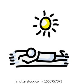 Sunbathing Vector Stick Figure Person Tanning on Towel. Hand Drawn Isolated Human Doodle Icon Motif Element in Flat Color. For Vacation, Resort, Sunlight or Summer Concept. Pictogram EPS 10