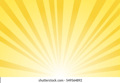 Sunbeams vector. Bright sunbeams on yellow background.