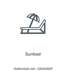 Sunbed concept line icon. Linear Sunbed concept outline symbol design. This simple element illustration can be used for web and mobile UI/UX.