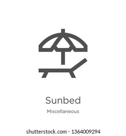 sunbed icon. Element of miscellaneous collection for mobile concept and web apps icon. Outline, thin line sunbed icon for website design and mobile, app development