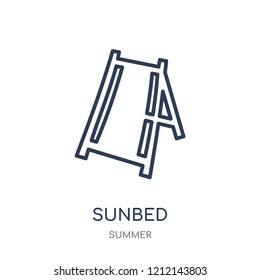 Sunbed icon. Sunbed linear symbol design from Summer collection. Simple outline element vector illustration on white background.