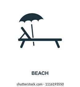 Sunbed icon. Mobile app, printing, web site icon. Simple element sing. Monochrome Sunbed icon illustration.