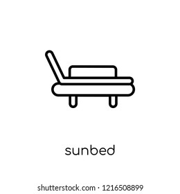 sunbed icon. Trendy modern flat linear vector sunbed icon on white background from thin line collection, outline vector illustration