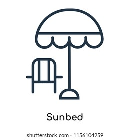 Sunbed icon vector isolated on white background, Sunbed transparent sign , thin symbols or lined elements in outline style