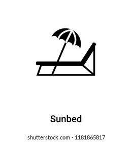 Sunbed icon vector isolated on white background, logo concept of Sunbed sign on transparent background, filled black symbol