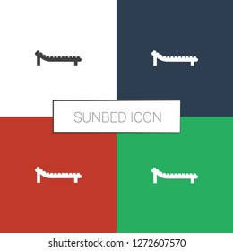 sunbed icon white background. Editable filled sunbed icon from summer. Trendy sunbed icon for web and mobile.
