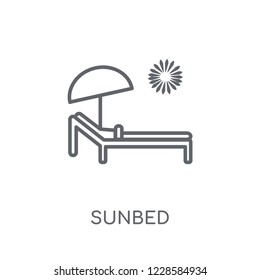 Sunbed linear icon. Modern outline Sunbed logo concept on white background from Summer collection. Suitable for use on web apps, mobile apps and print media.