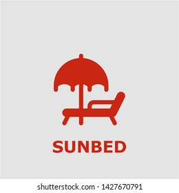 Sunbed symbol. Outline sunbed icon. Sunbed vector illustration for graphic art.