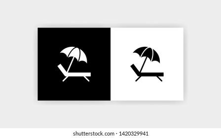 SUNBED UMBRELLA BEACH Icon Flat Graphic Design