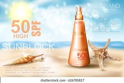 Sunblock ad template, sun protection, sunscreen and sunbath cosmetic product on  beach summer background. SPF protect. vector realistic illustration EPS 10