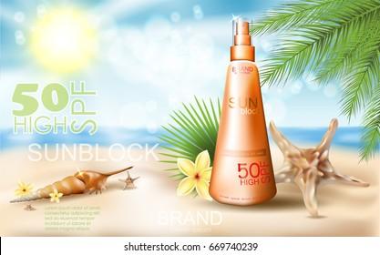 sunblock ad template sun protection sunscreen stock vector royalty