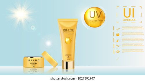 Sunblock ads template, sun protection cosmetic products design with moisturizer cream or liquid, sparkling background with glitter polka, vector design.EPS10