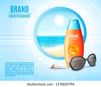 Sunblock ads template. Sun protection cosmetic products design. Vector illustration. EPS10