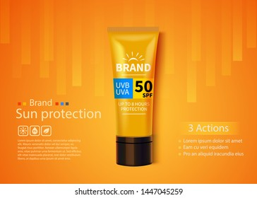 Sunblock ads template, sun protection cosmetic products design with moisturizer cream or liquid. Vector design.