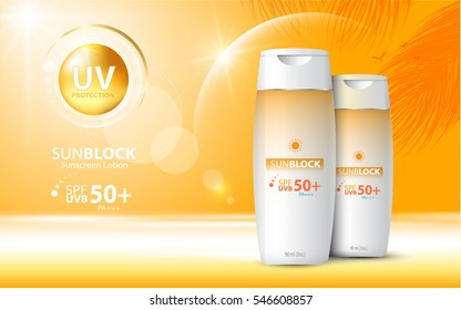 Sunblock ads template, sun protection cosmetic products design with moisturizer cream or liquid, sparkling background with glitter polka, vector design.