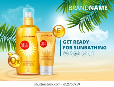Sunblock ads template, sun protection, sunscreen and sunbath cosmetic products design face and body lotion with Coenzym Q10 and vitamin E on palm beach summer background. SPF and UV protect. vector