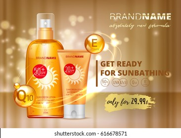 Sunblock ads template, sun protection, sunscreen and sunbath cosmetic products design package lotion with Coenzym Q10 and vitamin E on VIP Premium gold background. SPF and UV protect. vector