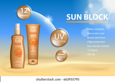 Sunblock ads template, sun protection cosmetic products. Sunblock cream and Tanning oil spray bottle. 3D vector illustration for magazine or ads.