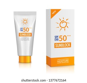 Sunblock bottle lotion cream. Sunscreen background protection isolated cosmetic block uv, solar care product mockup.