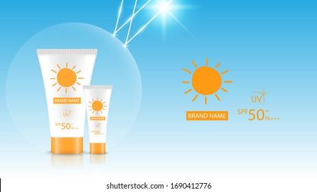 Sunblock product design mockup, cosmetic advertisement design, vector illustration