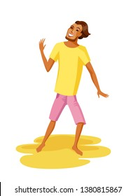 Sunburnt young man dancing at a summer beach party. Flat style brown haired guy. He is wearing pink shorts and yellow shirt