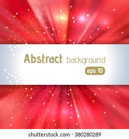 Sunburst background with glittering stars. Beautiful rays of light.  Vector illustration. Red color.