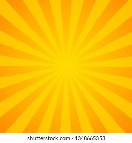 Sunburst background. Orange background with radial lines for retro illustration in pop art style. - vector illustration