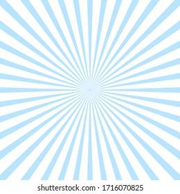 Sunburst background, white and blue colors.