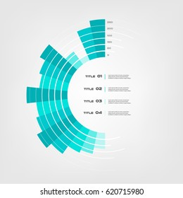 Sunburst chart color infographics step by step in a series of circle. Element of chart, graph, diagram with 5 options - parts, processes. Vector business template for presentation