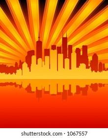 Sunburst city scene (Vectors 46)