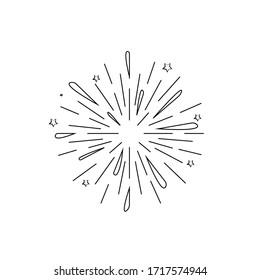 Sunburst doodle. Hand drawn star burst explosion. Illustrated Design Element.