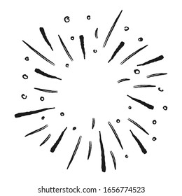 Sunburst doodle. Star burst hand drawn radial lines.