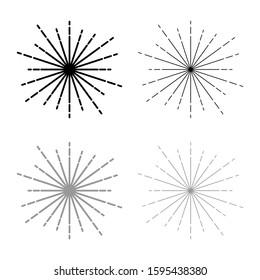 Sunburst Fireworks rays Radial ray Beam lines Sparkle Glaze Flare Starburst concentric radiance lines icon outline set black grey color vector illustration flat style image