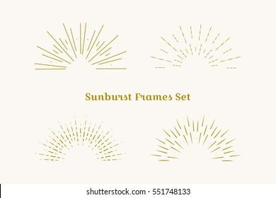 Sunburst frames set. Retro gold Sun burst shape. Vintage explosion logo, label, badge. Firework design element. Old light rays. Retro, vintage, hipster starburst.