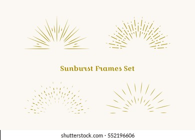 Sunburst frames set. Retro gold Sun burst shape. Vintage explosion logo, label, badge. Firework design element. Old light rays. Retro, vintage, hipster starburst