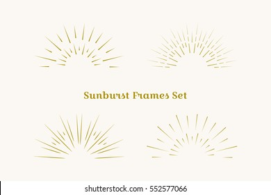 Sunburst frames set. Retro gold Sun burst shape. Vintage explosion logo, label, badge. Firework design element. Old light rays, starburst. Retro, vintage, hipster, boho style.